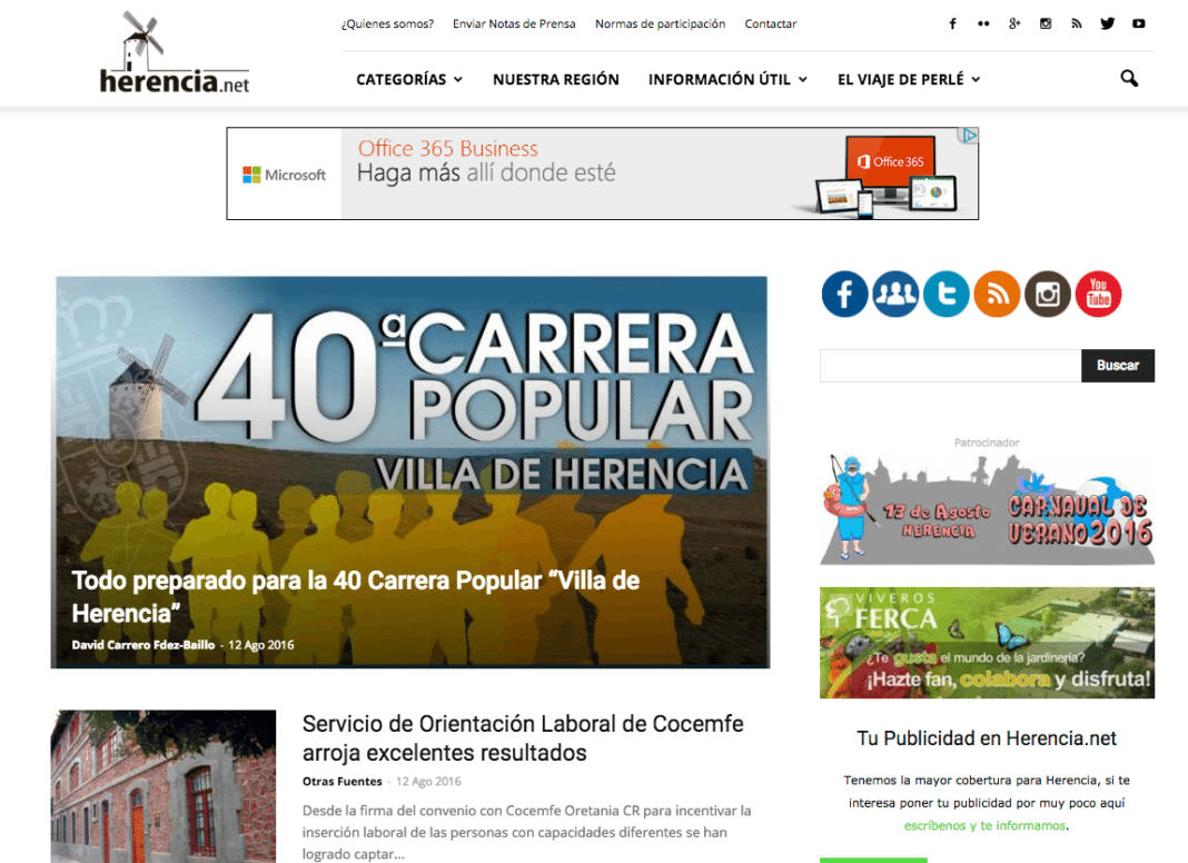 captura pagina web herencia net 1068x776 - Últimas noticias de Herencia (Ciudad Real), diario de información