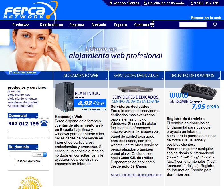 ferca network sitio web - Ferca registra con éxito más del 60% de los pre-registro .es para clientes