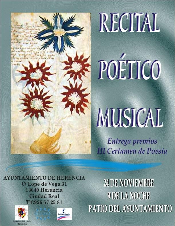 cartel recital de poesia - Recital Poético Musical
