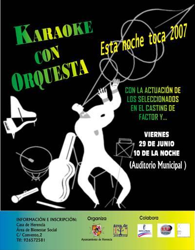 cartel karaoke con orquesta - Esta Noche Toca 2007... Karaoke con orquesta!!