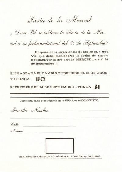 Papeleta referendum popular de 1967 sobre la celebración de la Feria