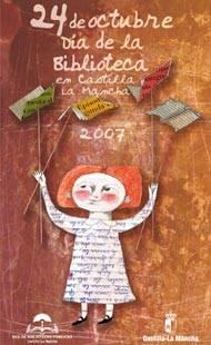 cartel dia de la biblioteca clm 2007 - Un espacio de compromiso y solidaridad