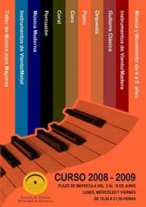 matricula0708 copia1 212x300 - Abierto el plazo de matrícula de la Escuela Municipal de Música para el curso 2008/2009