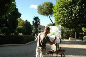 Artista en vivo en el Certamen de Pintura Rápida