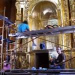El taller de restauración del herenciano Enrique Rodríguez de Tembleque progresa en la recucperación del retablo de Ntra. Sra. del Rosario de Santa Quiteria 3
