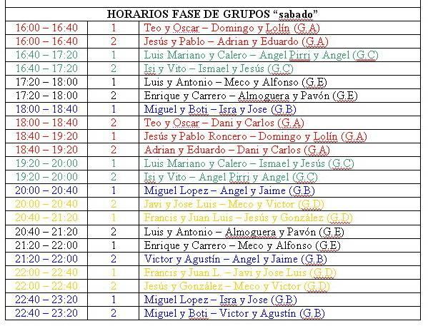 horarios sabado - Horario y sorteo de grupos del Trofeo de Pádel