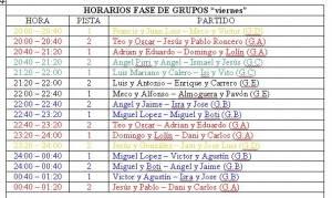 horarios viernes 300x179 - Horario y sorteo de grupos del Trofeo de Pádel