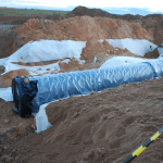 """yacimiento tuberia1 150x150 - Las obras de la tubería siguen adelante ocultando completamente el yacimiento """"Las Catalanas"""""""