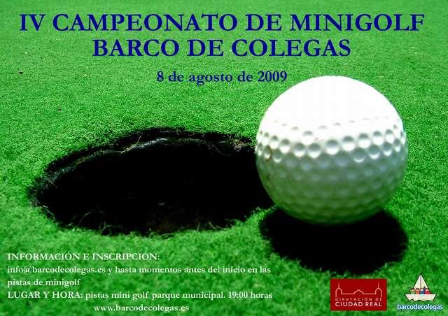 Cartel IV campeonato Minigolf BdC - El próximo sábado tendrá lugar el IV Trofeo veraniego de Minigolf Barco de Colegas