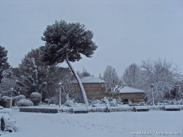 Parque de Herencia en la nieve. Foto de Archivo año 2009.