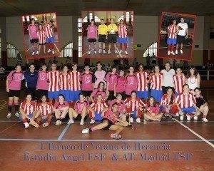 equipo futbol sala femenino 300x240 - Éxito del partido entre el Estudio Ángel FSF y el Atlético Madrid FSF