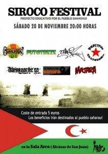 Cartel Siroco Festival pro Sahara 212x300 - Grupos de Herencia participarán en el Siroco Festival pro Sahara
