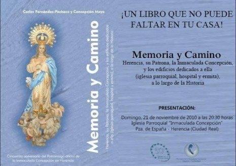 """invitacion 465x327 - Presentación del libro """"Memoria y Camino"""" sobre la historia de Herencia y su Parroquia"""