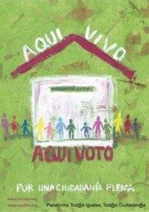 aqui vivo aqui voto 211x300 - Muchos inmigrantes también podrán votar en las próximas elecciones de mayo de 2011