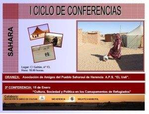 """Este sábado tendrá lugar la última charla del I Ciclo de Conferencias """"Sahara"""" 3"""