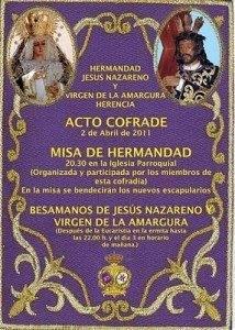 CARTEL Besamanos hermandad Jes%C3%BAs Nazareno 2011 214x300 - La Hermandad de Jesús Nazareno prepara su acto cofrade previo a la Semana Santa