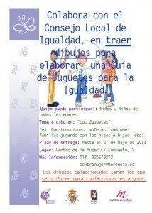 Cartel para dibujos guia jugetes no sexistas 214x300 - Consejo Local de Igualdad busca dibujos para ilustrar su Guía de Juguetes