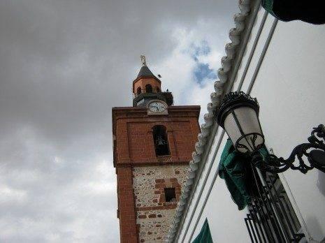 herencia ciguena en pararrayos iglesia 465x348 - Rescate de una cigüeña atrapada en el pararrayos