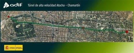trazadotunelatochachamartin 465x184 - Tecnoseñal incorporará al Túnel que une Atocha con Chamartín 7.000 señales de emergencia