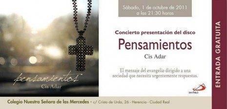 Invitacion 465x225 - El grupo de música religiosa Cis Adar presentará su primer disco el 1 de octubre
