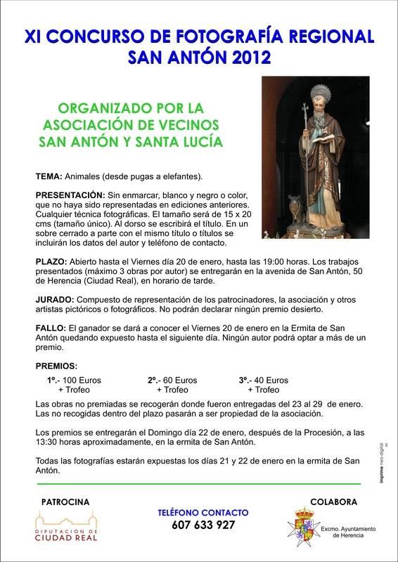 """cartel concurso fotográfico san anton - Convocado el XI Concurso Fotográfico Regional de Animales """"San Antón 2012"""""""