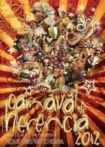 cartel carnaval herencia 2012 214x300 - Una explosión de color y de bullicio de pasacalles anunciará nuestro Carnaval de Herencia 2012