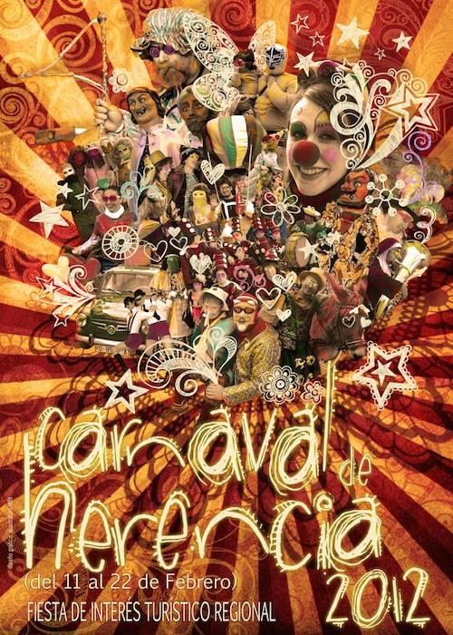 cartel carnaval herencia 2012 - Una explosión de color y de bullicio de pasacalles anunciará nuestro Carnaval de Herencia 2012