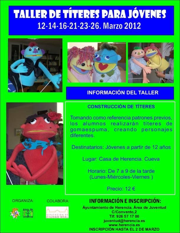 Títeres 2012 - Juventud prepara un taller de títeres de gomaespuma