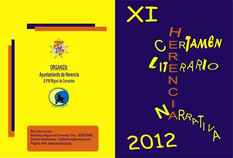 """Bases certamen narrativa 12 portada - Convocada la edición XI Certamen de Narrativa B.P.M. """"Miguel de Cervantes"""""""