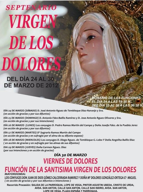 Septenerario en honor a la Virgen de los Dolores - Septenario en honor a la Virgen de los Dolores