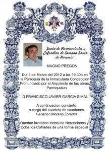 cartel magno pregon 214x300 - Francisco Javier García Simal será el pregonero de la Semana Santa de Herencia