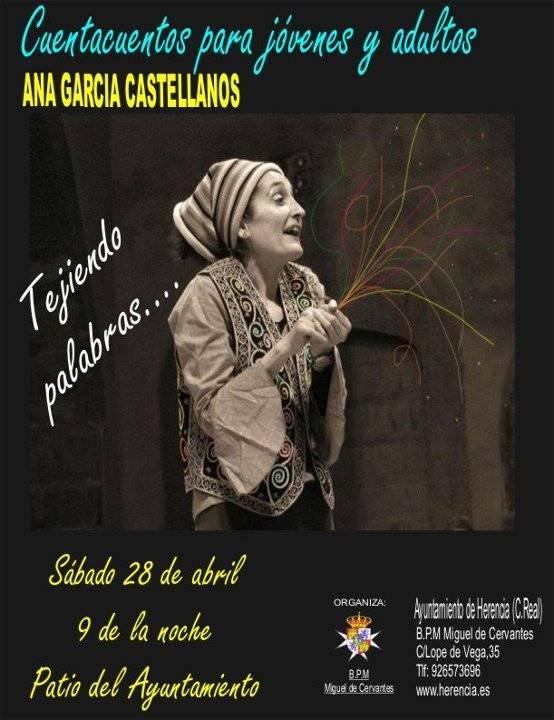 Cuentacuentos Ana García Castellanos en Herencia - Ganadores del XI Certamen Literario B.P.M. Miguel del Cervantes y X Certamen de Cuentos Brevísimos