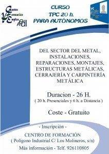 cartel tpc 20 horas autonomos METAL 212x300 - Cursos de formación para autónomos y desempleados