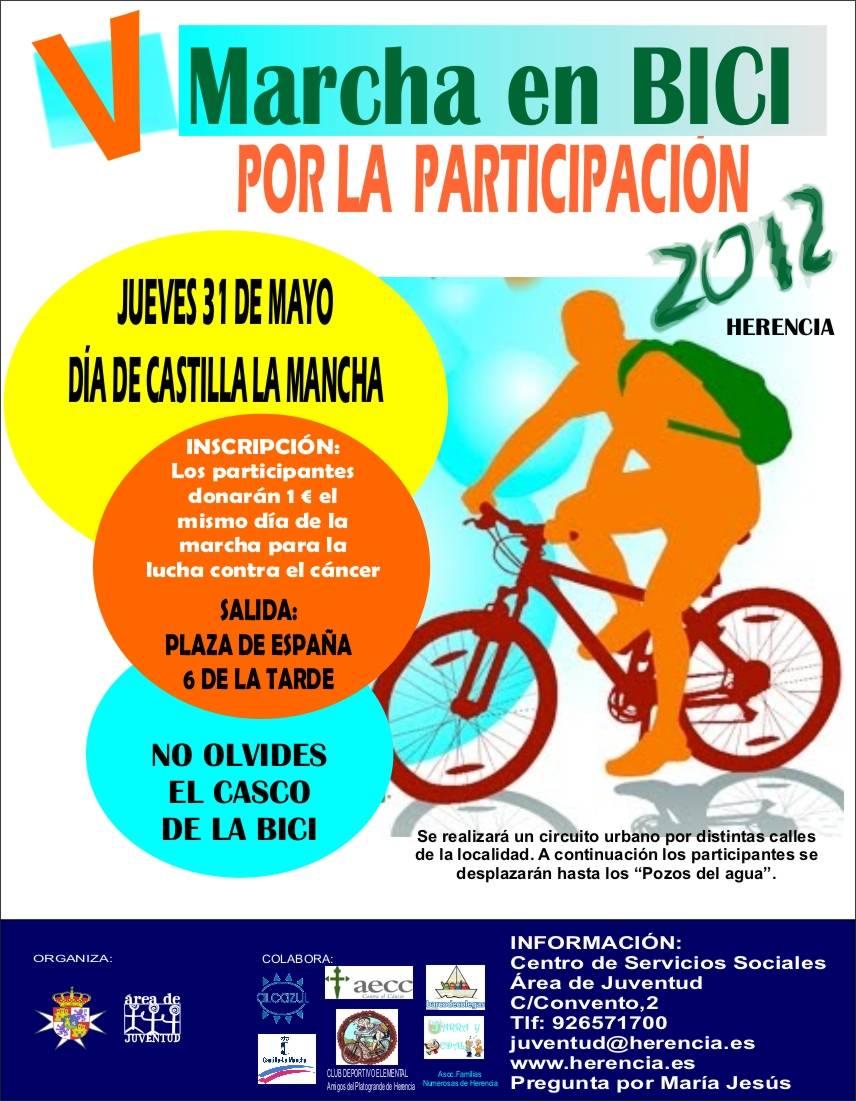Cartel V Marcha en bicicleta por la participación y contra el Cancer en Herencia