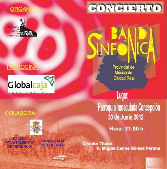 Cartel del Concierto Banda Sinfónica Provincial en Herencia - Concierto de la Banda Sinfónica Provincial en Herencia