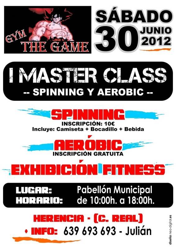 Cartel master class spining y aerobic - Primera Master Class de Spinning y Aerobic del gimnasio The Game en Herencia