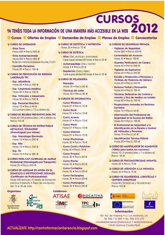 Cursos Centro de Formacion y Empleo 2012 - Cursos ofertados por el Centro de Formación y Empleo