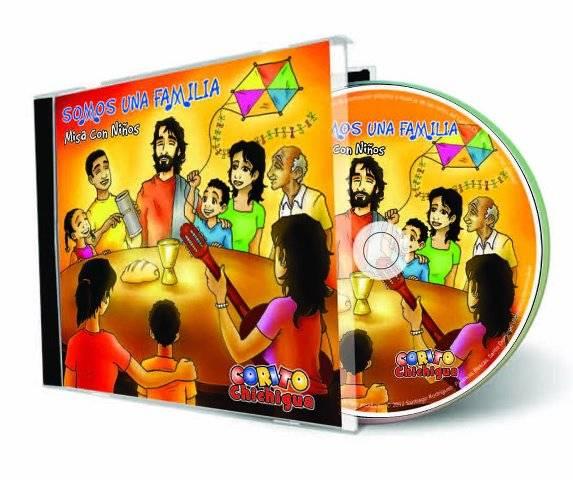 """portada disco somos una familia - """"Somos una familia"""", disco del Corito Chichigua con letras de Santiago Rodríguez e ilustraciones de Jesús Cobos"""