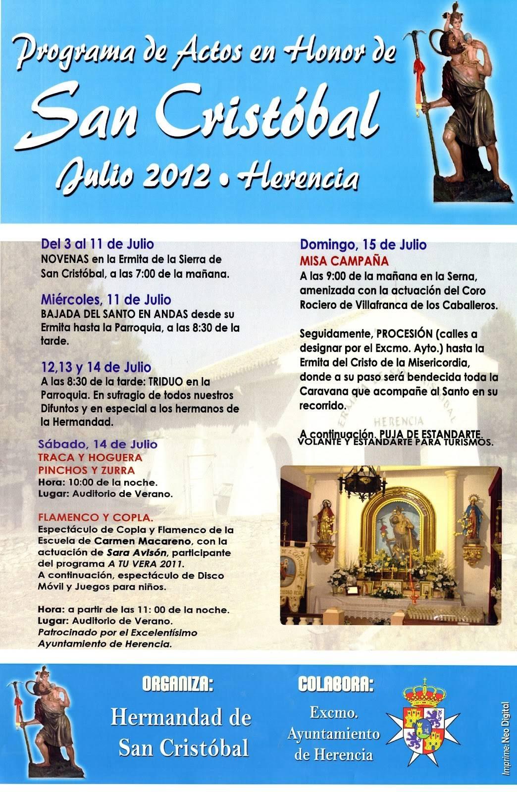 Cartel San Cristobal Herencia 2012 - Programa de Actos en Honor a San Cristóbal