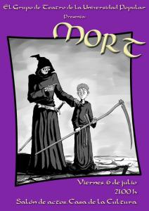 Cartel de la obra de teatro Mort, representada por el grupo de teatro de la Universidad Popular de Herencia