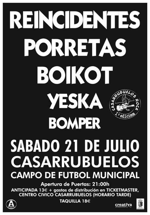 concierto Yeka 21 de julio en Casarrubuelos - Suspendido el concierto de Yeska en Casarrubuelos