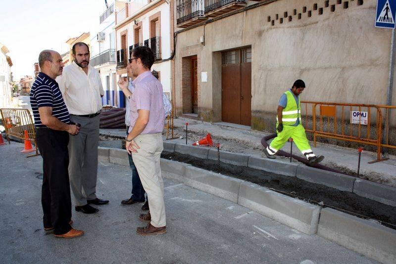 Obras de la rotonda del barrio de San Antón de Herencia