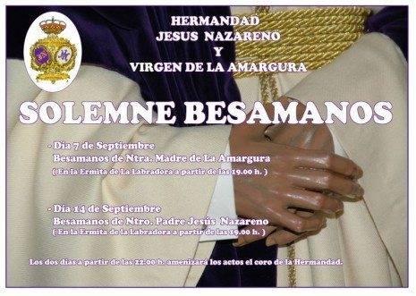 """Besamanos de la Virgen de la Amargura y Jes%C3%BAs Nazareno 465x331 - Solemne besamanos de la Hermandad de """"Los Moraos"""" en la Labradora"""