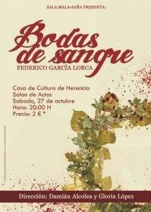 Cartel Bodas de Sangre 214x300 - La Escuela de Teatro Mala-saña representará Bodas de Sangre en Herencia a favor de los familiares de enfermos de Alzheimer