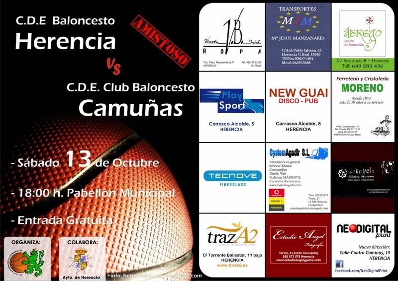 cartel partido baloncesto Herencia-Camuñas