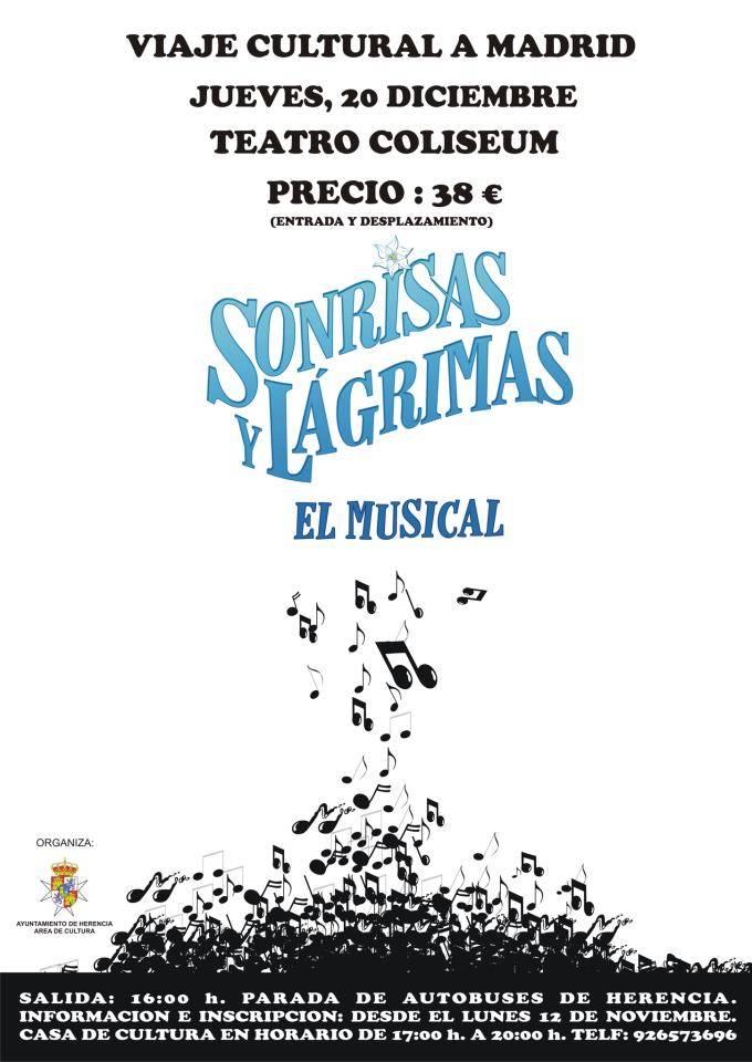 Cartel Musical Sorisas y Lágrimas - Cultura organiza un viaje para ver el musical Sonrisas y Lágrimas