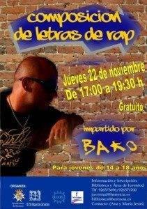 Taller de composición de letras de rap 211x300 - Juventud y la biblioteca organizan un encuentro con el rapero Bako