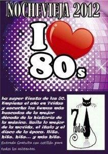 CARTEL NOCHEVIEJA 2012  7VIDAS 212x300 - Disco-Pub 7vidas organiza una fiesta de Nochevieja de los 80