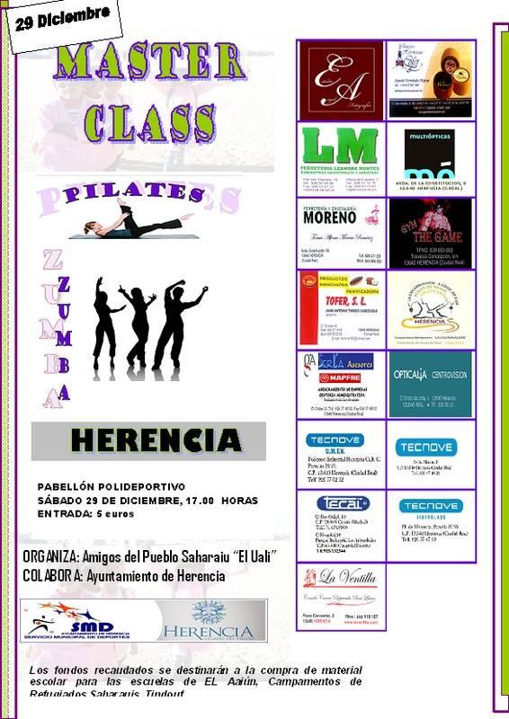 Cartel Master Class Pilates 2012 1 - Actividades para la Navidad de la Asociación de Amigos del Pueblo Saharaui de Herencia, El Uali