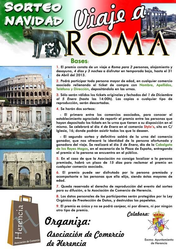 cartel viaje roma asociación comercio herencia - La asociación de comercio de Herencia sortea un viaje a Roma